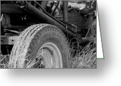 Tire Greeting Cards - Ford Tractor Details in Black and White Greeting Card by Jennifer Lyon