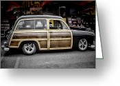 Woody Wagon Greeting Cards - Ford Woody Wagon Greeting Card by Ron Roberts