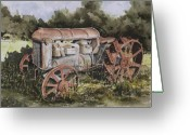 Equipment Greeting Cards - Fordson Model F Greeting Card by Sam Sidders