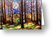 Paula Shaughnessy Greeting Cards - Forest at Night Greeting Card by Paula Shaughnessy