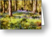 English Countryside Print Greeting Cards - Forest Bluebells Greeting Card by Zeana Romanovna