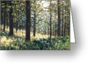 Giclees Greeting Cards - Forest- County Wicklow - Ireland Greeting Card by John  Nolan