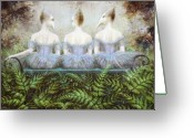 Fantasy Creatures Painting Greeting Cards - Forest Divas Greeting Card by Lolita Bronzini
