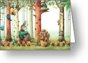 Easter Greeting Cards - Forest Eggs Greeting Card by Kestutis Kasparavicius