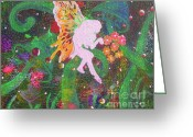 Pixie Spring Fantasy Greeting Cards - Forest Fairies - 3 Greeting Card by Jacqueline Athmann