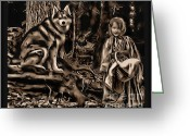 Pets Greeting Cards - Forest Fantasies Greeting Card by Tisha McGee