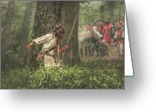 Frontier Art Greeting Cards - Forest Fight Greeting Card by Randy Steele