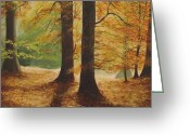 Northern Irish Art Greeting Cards - Forest Light Greeting Card by Robert Gary Chestnutt