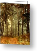 Faux Vintage Greeting Cards - Forest Memories - Vintage Grunge Greeting Card by Zeana Romanovna