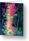 Japanese Greeting Cards - Forest Pond Greeting Card by Robert Hooper