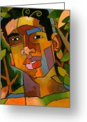 Face Greeting Cards - Forest Spirit Greeting Card by Douglas Simonson