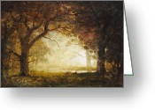Good Morning Greeting Cards - Forest Sunrise Greeting Card by Albert Bierstadt
