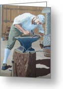 Colonial Man Painting Greeting Cards - Forged Greeting Card by Jennifer  Donald