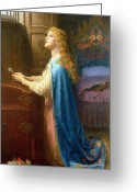 Consolation Painting Greeting Cards - Forget me Not Greeting Card by Arthur Hughes