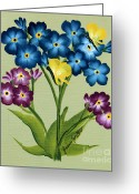 Butterflies And Blue Flowers Greeting Cards - Forget me Nots and Butterflies Greeting Card by Barbara Griffin