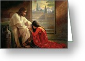 Red Woman Greeting Cards - Forgiven Greeting Card by Greg Olsen