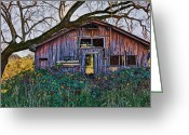 Wooden Barns Greeting Cards - Forgotten Barn Greeting Card by Garry Gay
