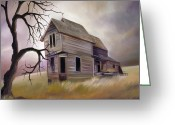 Abandoned House Painting Greeting Cards - Forgotten but not Gone Greeting Card by James Christopher Hill