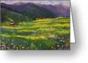 Grass Pastels Greeting Cards - Forgotten Field Greeting Card by David Patterson