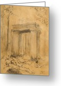Entrance Door Drawings Greeting Cards - Forgotten Gate Greeting Card by Dagmara Czarnota