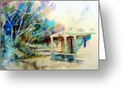 Log Cabins Painting Greeting Cards - Forgotten Greeting Card by Steven Holder