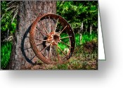 Ponderosa Greeting Cards - Forgotten Wheel Greeting Card by Niels Nielsen
