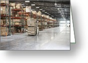 Blue Collar Greeting Cards - Forklift Moving Product in a Warehouse Greeting Card by Jetta Productions, Inc
