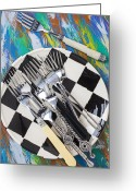 Utensil Greeting Cards - Forks on checker plate Greeting Card by Garry Gay