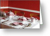 Linen Greeting Cards - Formal Dining Setup Greeting Card by Judyann Matthews