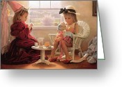 Girls Greeting Cards - Formal Luncheon Greeting Card by Greg Olsen