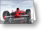Racer Digital Art Greeting Cards - Formula One Racer Greeting Card by Carol and Mike Werner