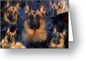 Pure Digital Art Greeting Cards - Forrest With Flowers - German Shepherd Dog Greeting Card by Angie McKenzie