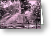 Savannah Square Greeting Cards - Forsyth Park Fountain in Pink Greeting Card by Carol Groenen