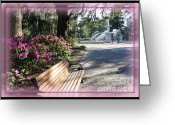Savannah Square Greeting Cards - Forsyth Park in Spring Pink Greeting Card by Carol Groenen