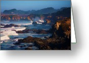 Crashing Waves Greeting Cards - Fort Bragg Coastline Greeting Card by Helen Carson
