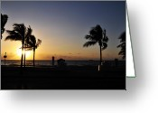 Silhouettes Greeting Cards - Fort Lauderdale Beach Sunrise Greeting Card by Kelly Wade