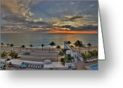 Pool Break Greeting Cards - Fort Lauderdale Sunrise Greeting Card by Kelly Bryant