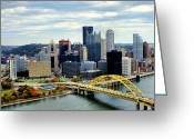 Incline Greeting Cards - Fort Pitt Bridge Greeting Card by Michelle Joseph-Long