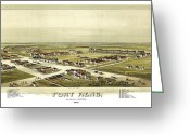 Vintage Map Digital Art Greeting Cards - Fort Reno Oklahoma Territory 1891 Greeting Card by Donna Leach