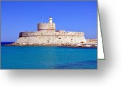 Rhodes Greece Greeting Cards - Fort Saint Nicholas in Rhodes. Greece. Greeting Card by Fernando Barozza