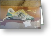 Jogging Greeting Cards - Fort Worth Jogging Trail  Art Graifiti Greeting Card by Shawn Hughes