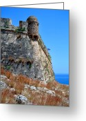 Venetian Architecture Greeting Cards - Fortetza. Venetian fortress in Rethymno. Crete. Greeting Card by Fernando Barozza