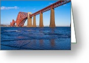 Mid-span Greeting Cards - Forth Rail Bridge Greeting Card by Gary Finnigan