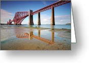Puddle Photo Greeting Cards - Forth Rail Bridge Greeting Card by Stu Meech