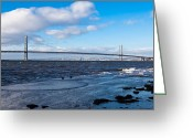 Mid-span Greeting Cards - Forth Road bridge Greeting Card by Gary Finnigan