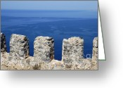 Battlement Greeting Cards - Fortification wall and blue ocean Greeting Card by Matthias Hauser