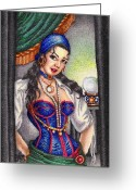 Fortune Teller Drawings Greeting Cards - Fortune Teller Greeting Card by Scarlett Royal
