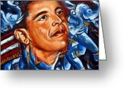 President Obama Digital Art Greeting Cards - Forward Greeting Card by Harsh Malik