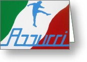 Chic Painting Greeting Cards - Forza Azzurri Greeting Card by Oliver Johnston