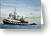 Martha Greeting Cards - FOSS Tugboat MARTHA FOSS Greeting Card by James Williamson